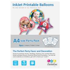 InkFlatables Balloon Home Starter Pack A4 Size (9 printable balloons, 3 each Round, Heart, Star)