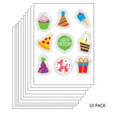 10 PACK: Birthday and Celebrations Edible Sticker Sheet (3.5 in x 4.75 in) - 9 edible images per sheet