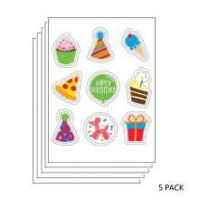 5 PACK: Birthday and Celebrations Edible Sticker Sheet (3.5 in x 4.75 in) - 9 edible images per sheet
