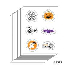 10 PACK: Halloween Edible Image Sticker Sheets (3.5 in x 4.75 in - includes 6 edible images per sheet)