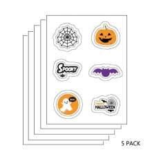5 PACK: Halloween Edible Image Sticker Sheets (3.5 in x 4.75 in - includes 6 edible images per sheet)