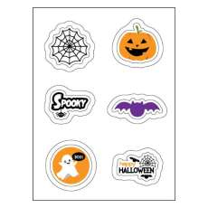 Halloween Edible Image Sticker Sheet (3.5 in x 4.75 in) - 6 edible images