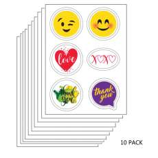 10 PACK: Thank You and Special Occasions Edible Sticker Sheet (3.5 in x 4.75 in) - 6 edible images per sheet