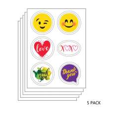 5 PACK: Thank You and Special Occasions Edible Sticker Sheet (3.5 in x 4.75 in) - 6 edible images per sheet